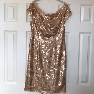 JS Collection Size 12 Rose gold sequin dress.